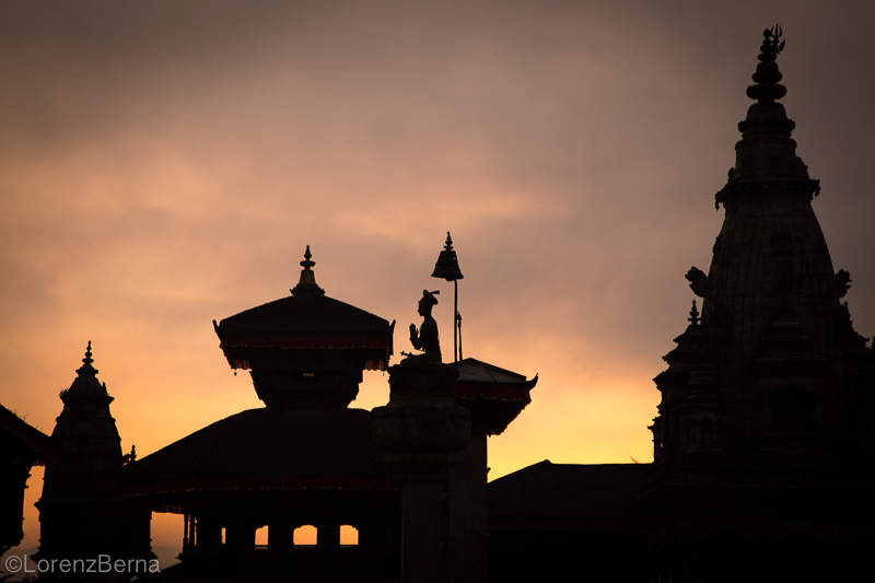 Silhouette of Temples in Bhaktapur - Travel Photography of Nepal by Lorenz Berna