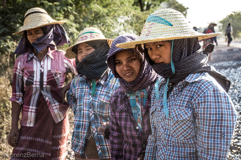 Burmese Road female workers - Travel photography of Myanmar by Lorenz Berna