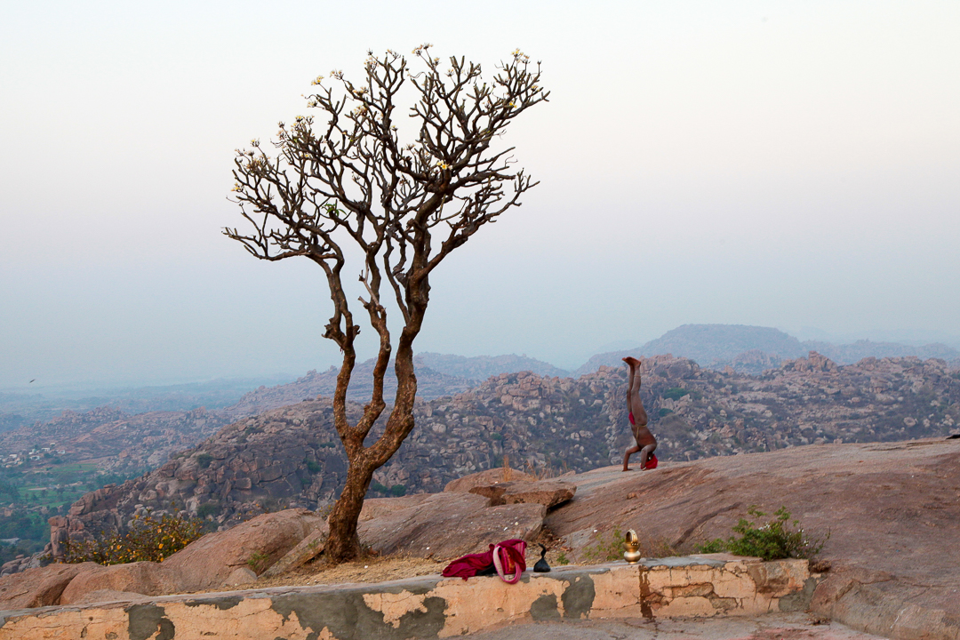 Yoga before sunrise in Hampi - India Travel Photography by Lorenz Berna