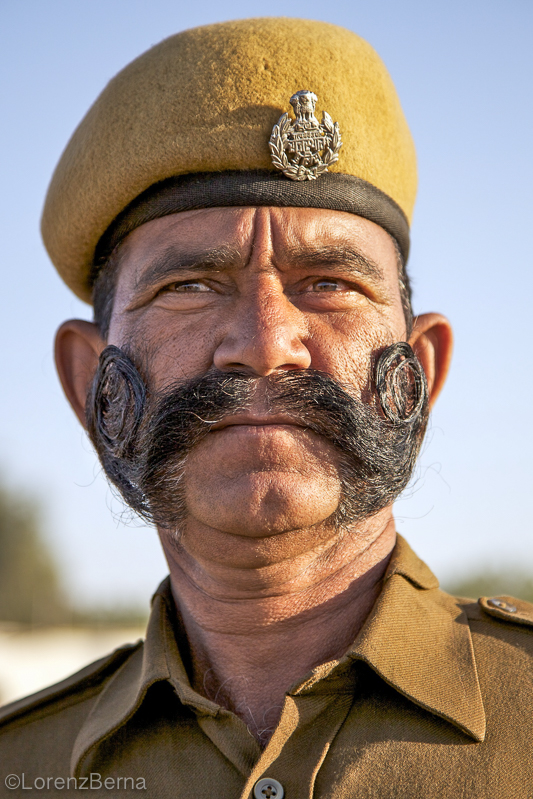 India Portrait of a policeman from Jaipur by photographer Lorenz Berna