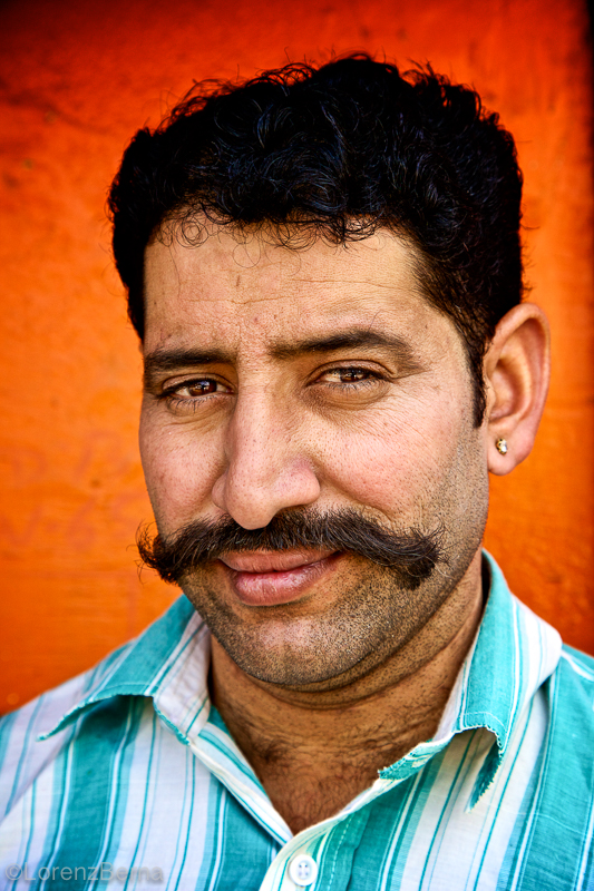 Portrait of Moustache Man in Jaipur - India Street photography by Lorenz Berna