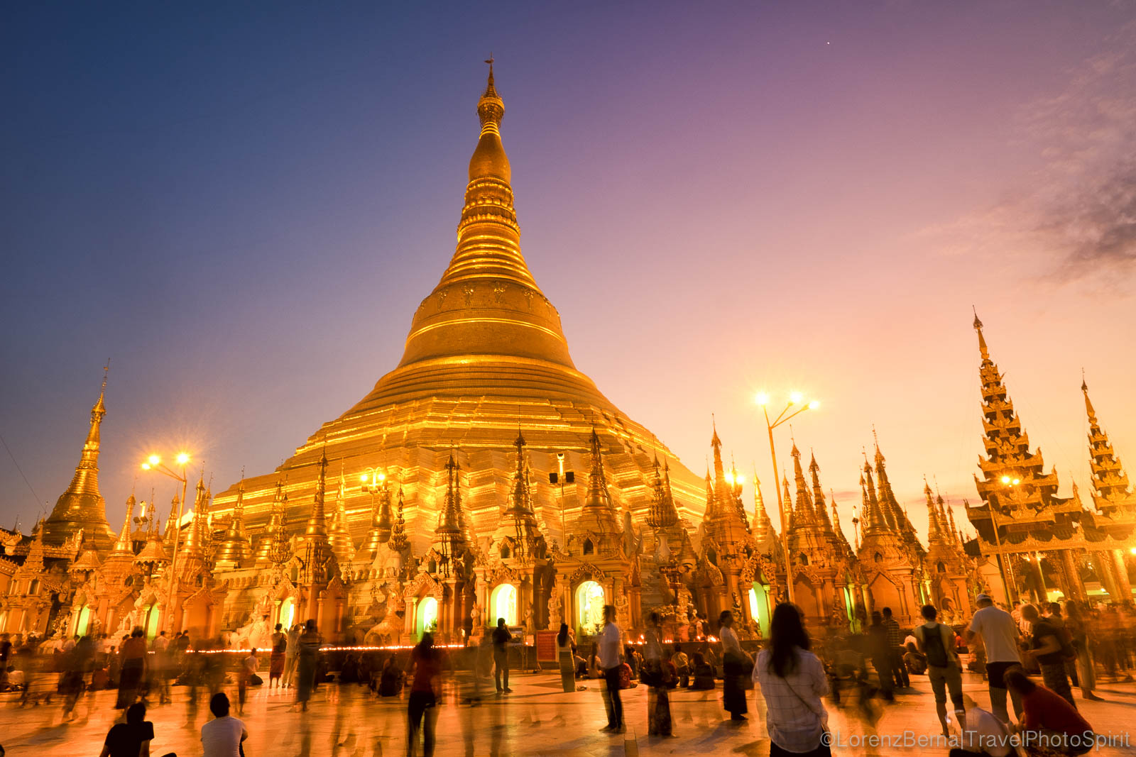 Shwedagon Paya at sunset.