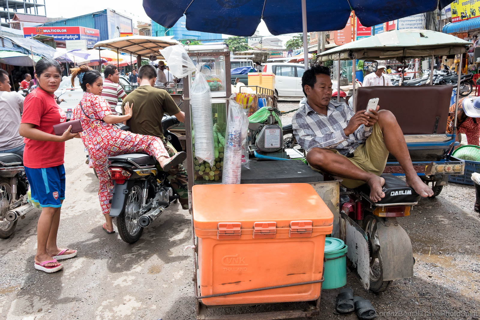 Street scene around Kampot central market, Cambodia