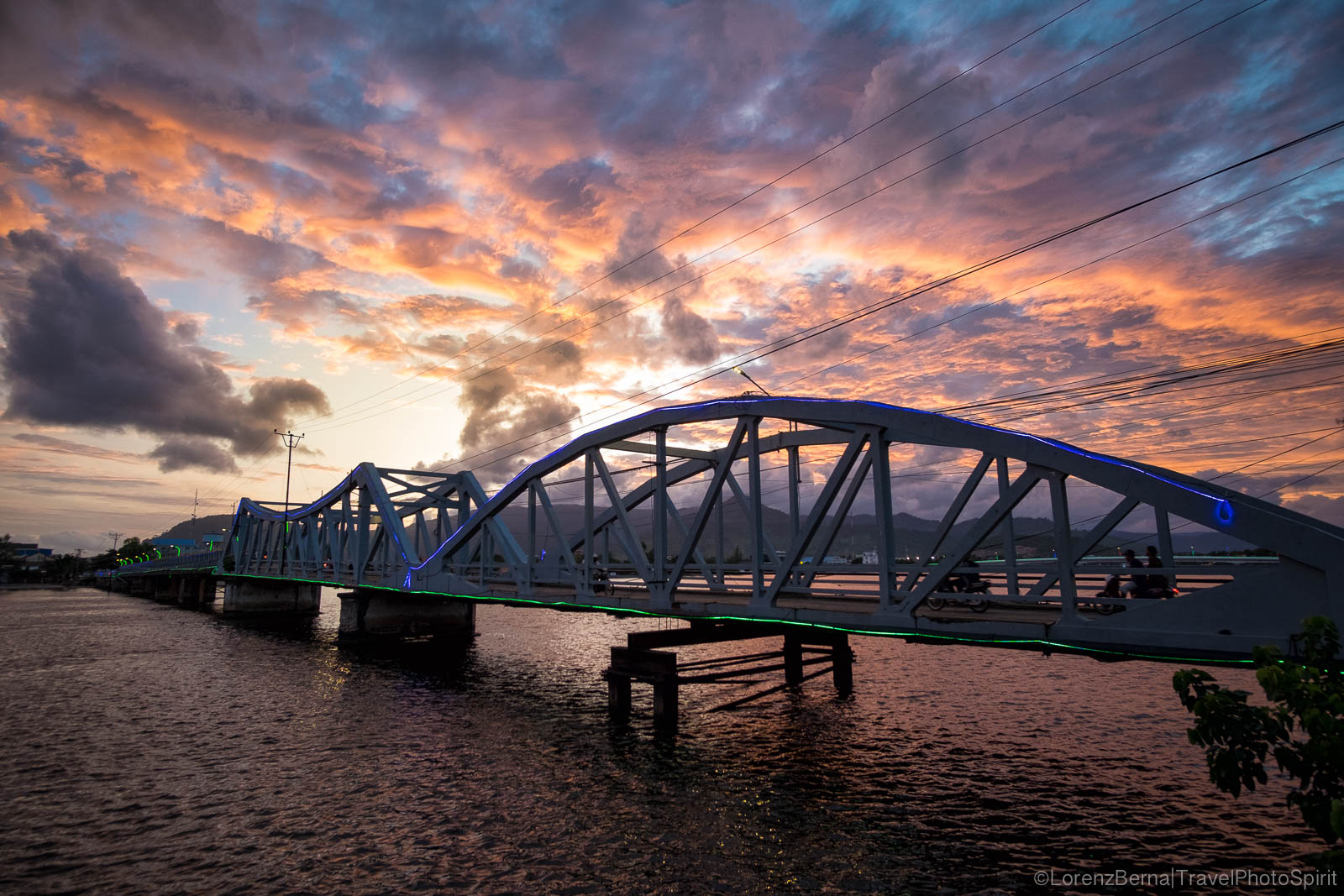Kampot old bridge at sunset, Cambodia