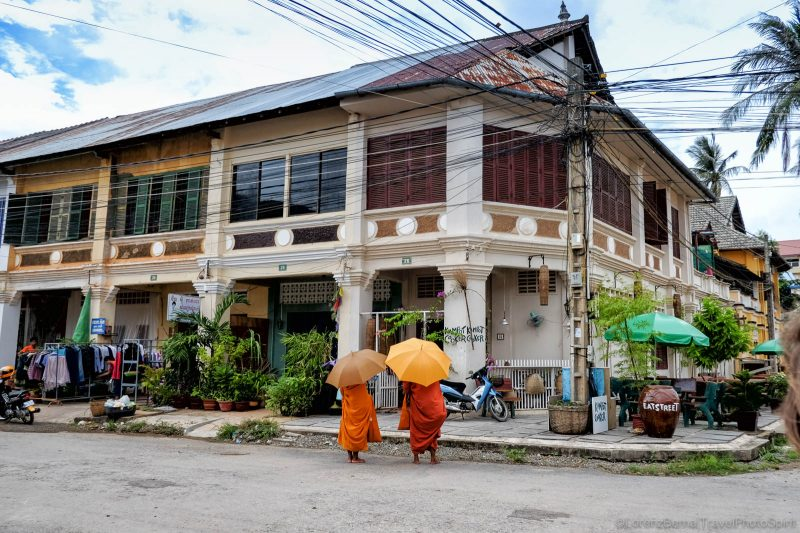 Colonial building in the old town of Kampot, Cambodia