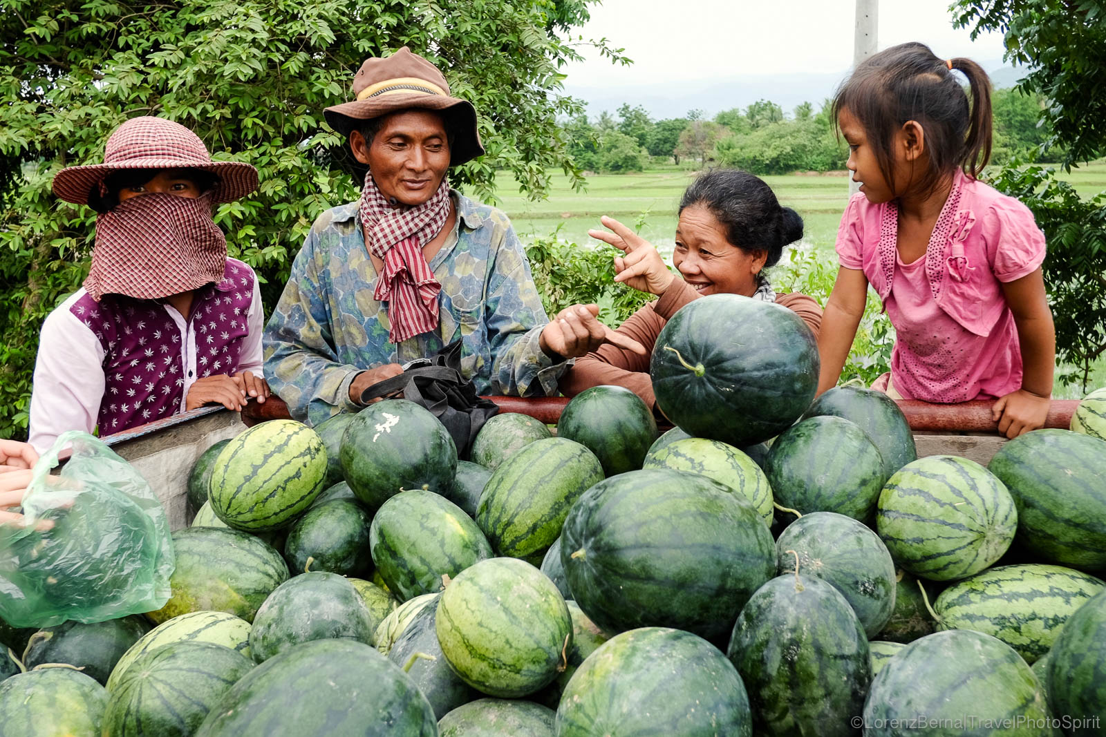 Local farmers selling their watermelons on the side of the road, Kampot countryside, Cambodia