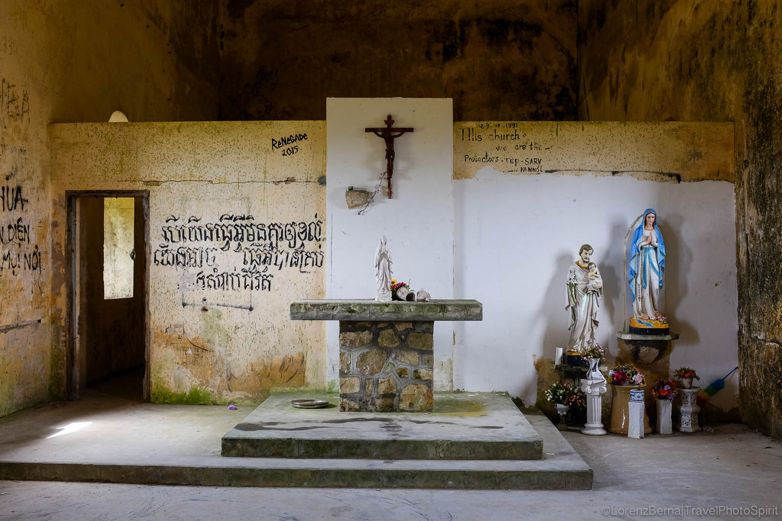 Inside the Old Church on top of the Bokor Mountain, Kampot, Cambodia