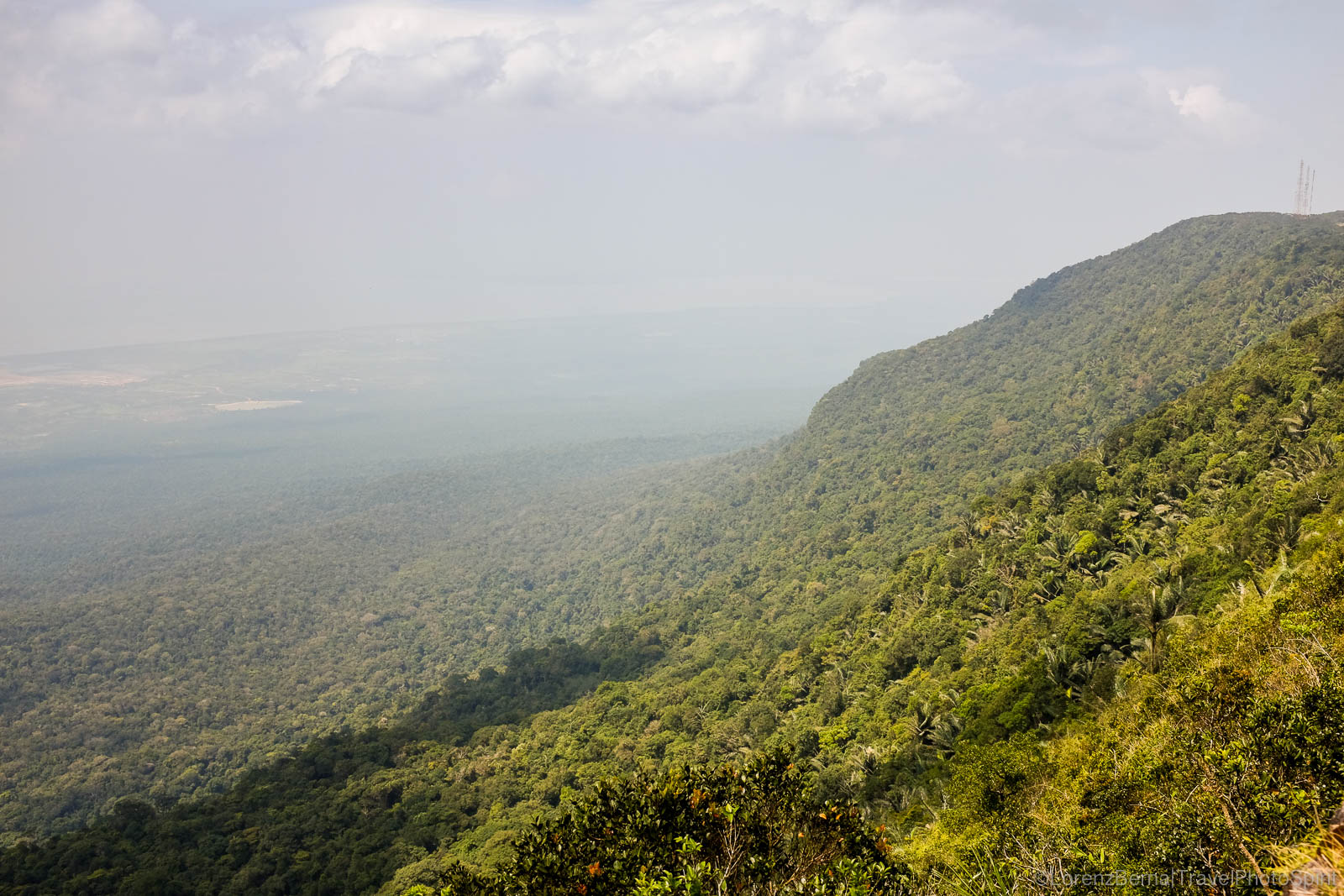 View from the top of the Bokor Mountain on the primary forest, Kampot, Cambodia