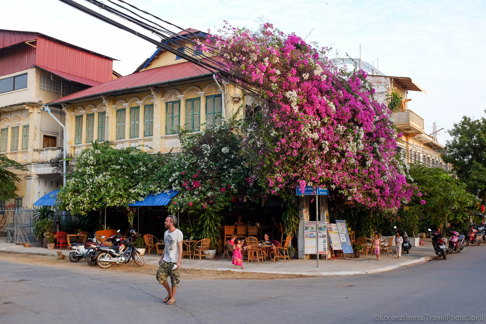 Bougainvillea on a colonial building of Kampot town, Cambodia