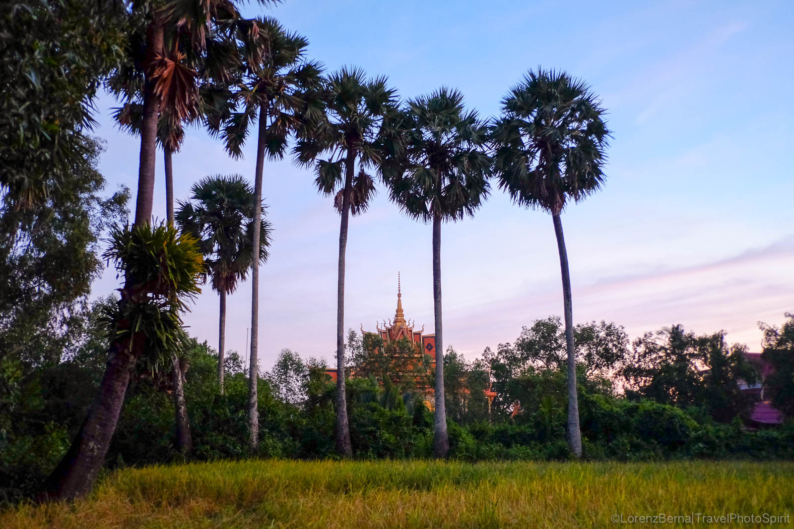 Local buddhist temple surrounded by rice fields and palm trees in Kampot countryside, Cambodia