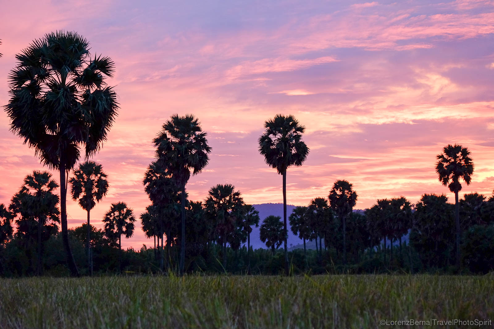 Countryside view of the Bokor Mountain after sunset, Kampot, Cambodia