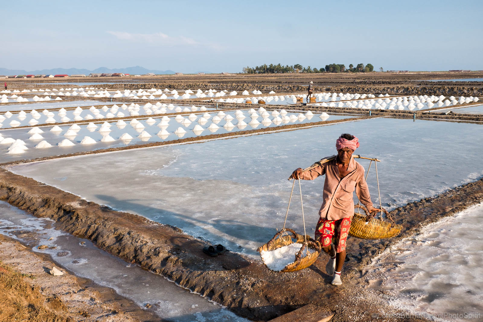 Worker in Kampot salt fields, Cambodia