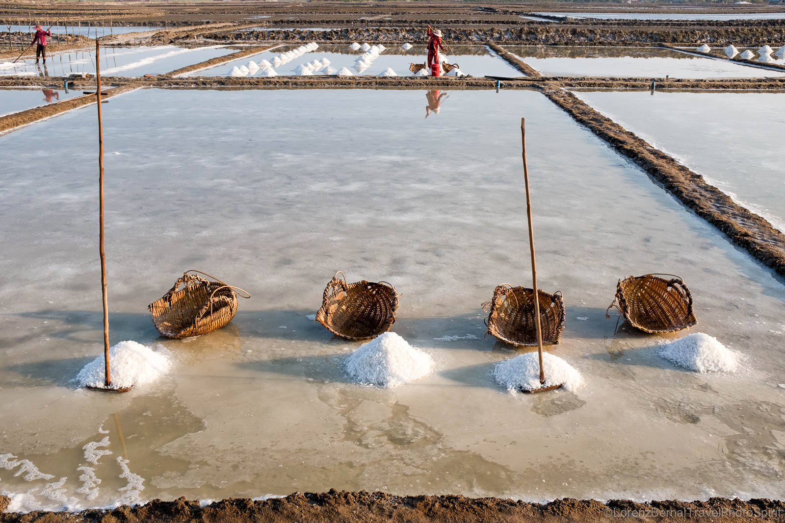 Salt piles in Kampot salt fields, Cambodia