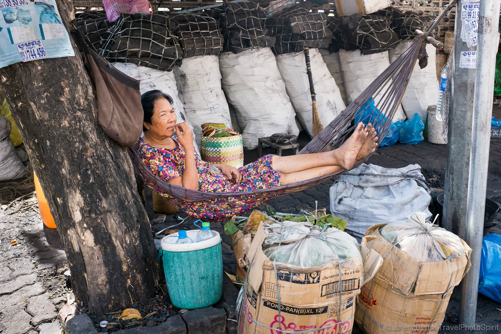 Wood-coal seller in hammock, Cambodia
