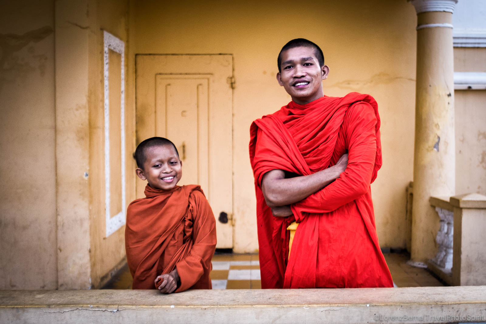 Buddhist monks, in Phnom Penh Cambodia