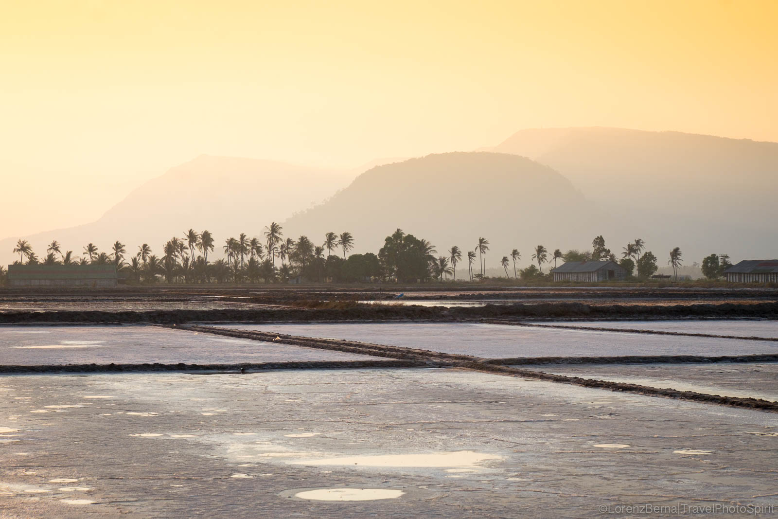 Kampot Salt fields at sunset, Cambodia