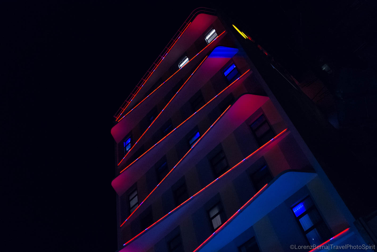 Design Hotel lights in the night, Phnom Penh, Cambodia