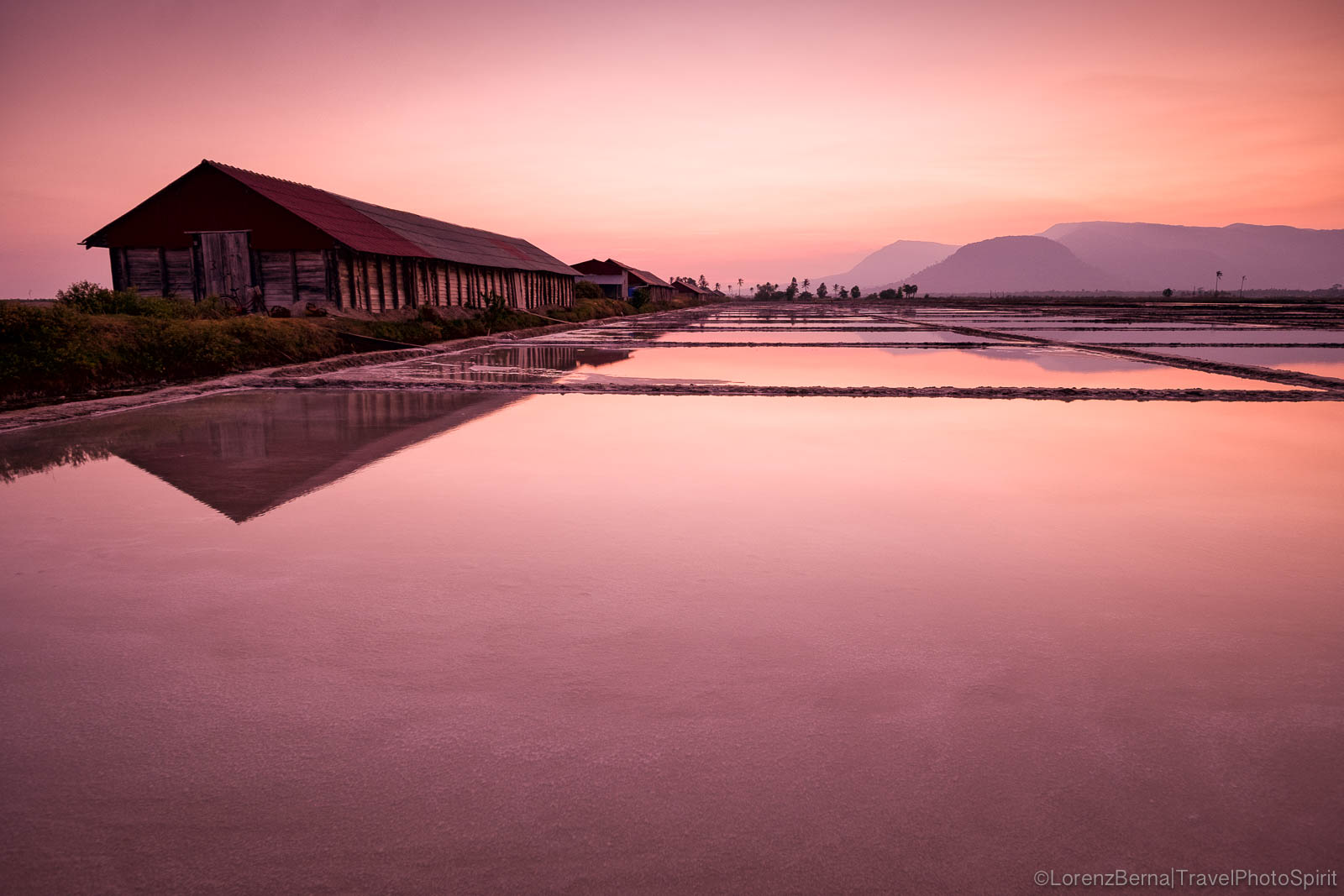 Kampot salt fields at twilight, Cambodia