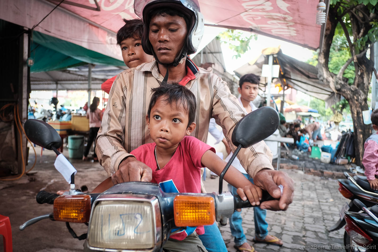 Family on a motorbike in Cambodia