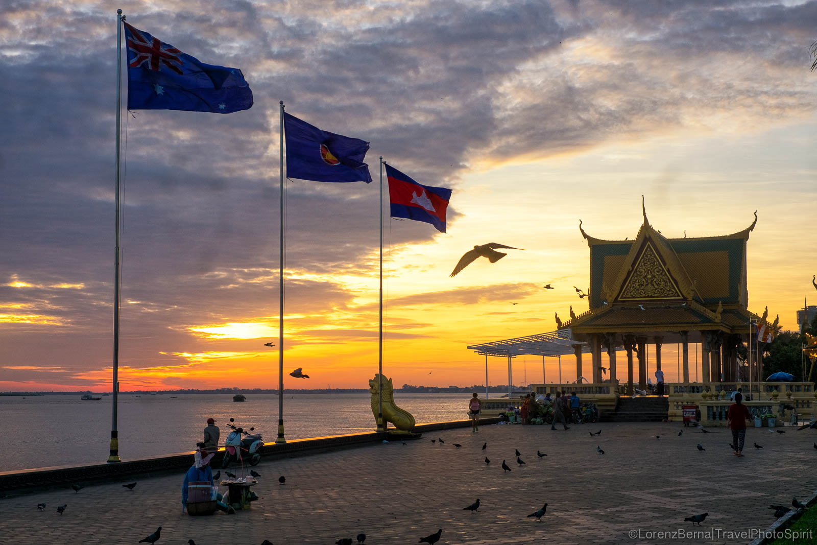Riverside at sunrise in Phnom Penh, Cambodia