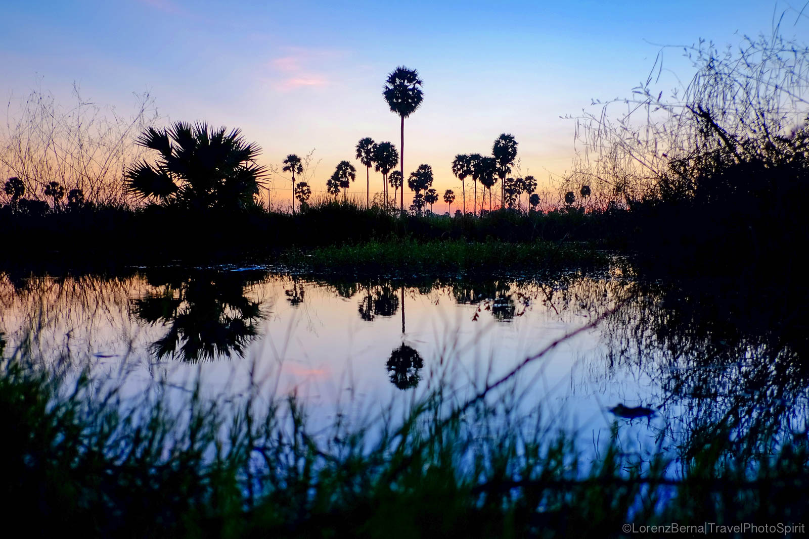 Reflection on Kampot river at the Blue Hours, South Cambodia