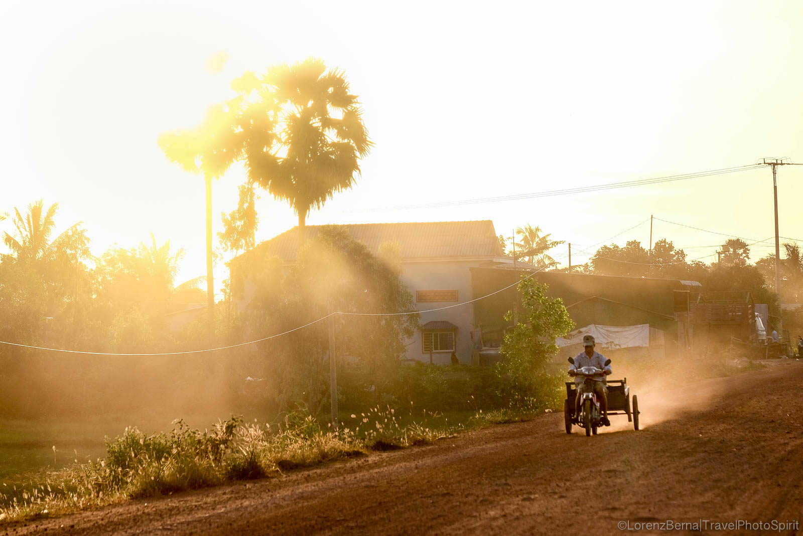 Motocar in the backlight in Kampot countryside, Cambodia