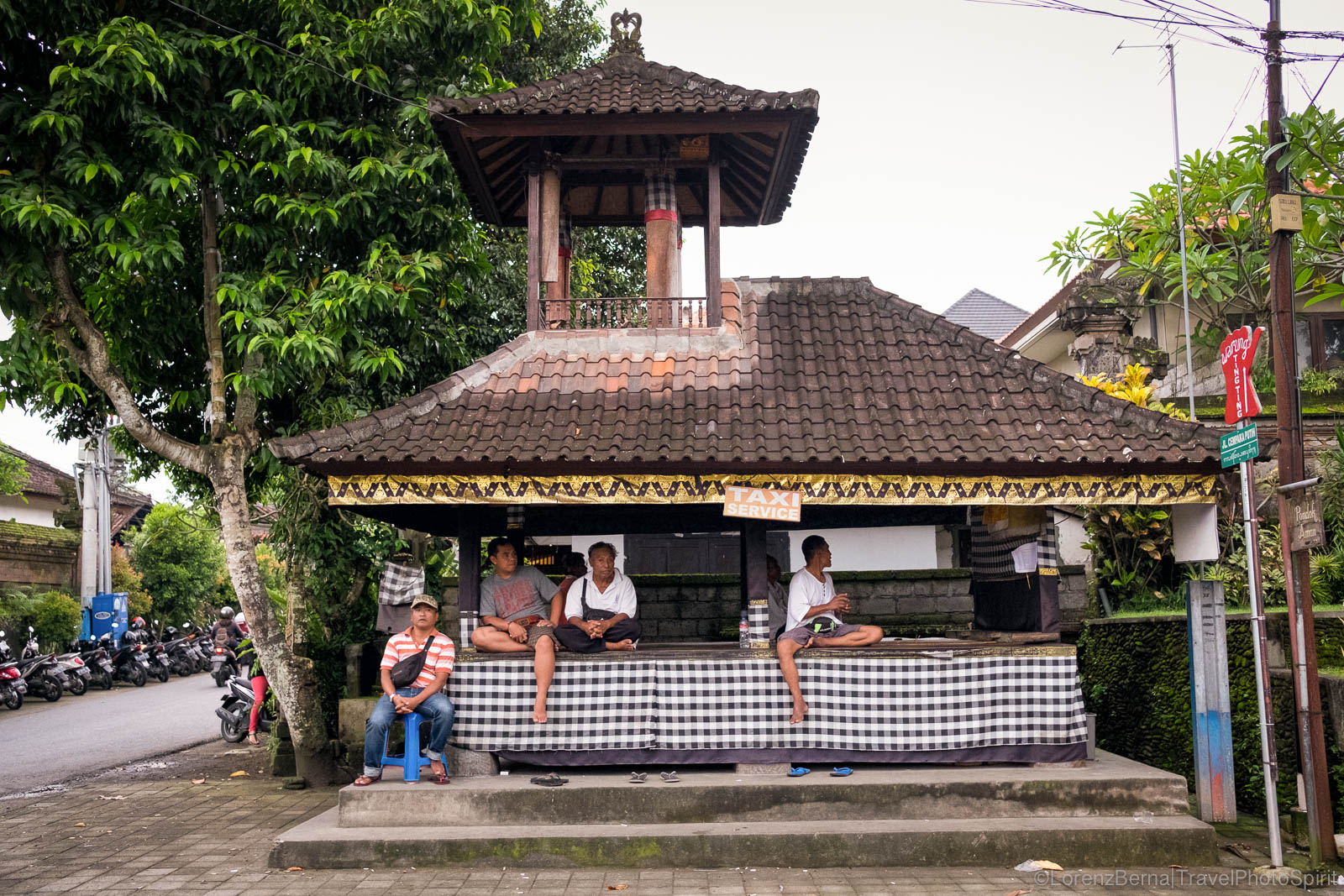 Local temple wrapped in the holy black and white Poleng, in Bali, Indonesia.