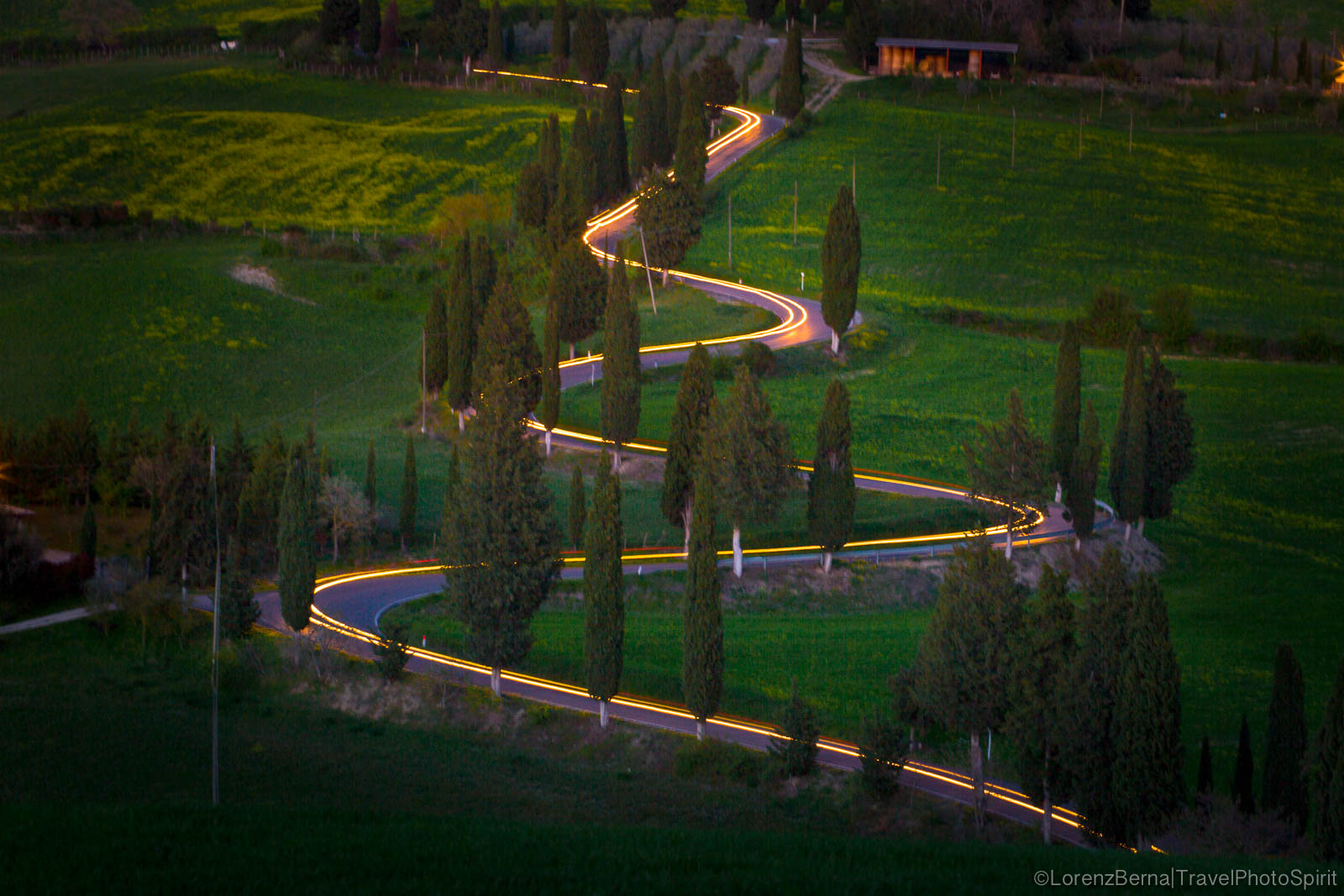 Night effects on the winding roads of Tuscany valleys - A Lorenz Berna Photography of Italy
