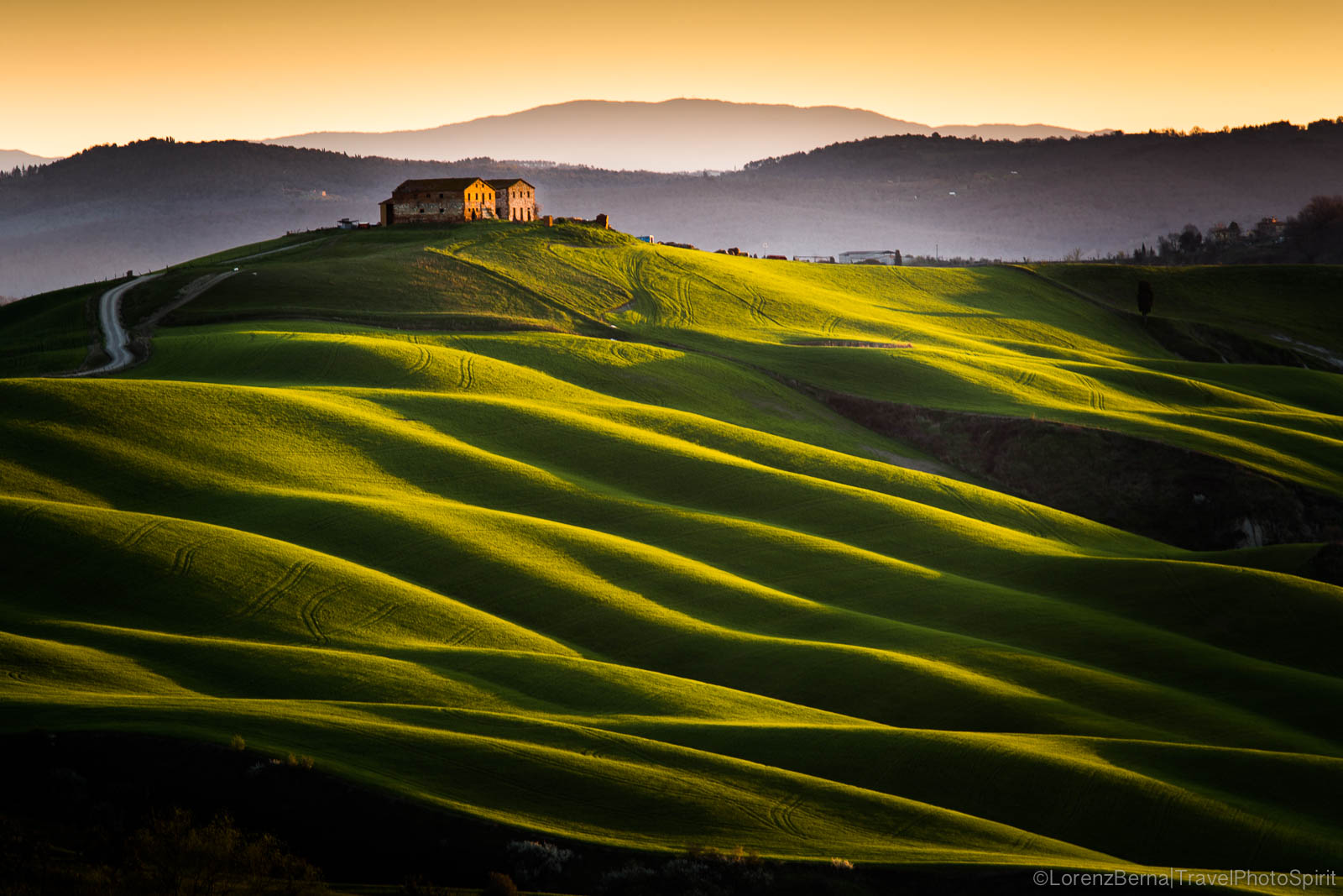 The gentle slopes of the Crete Senesi in the morning golden lights - Orcia Valley Photos by italian lnadscape and travel photographer Lorenz Berna.