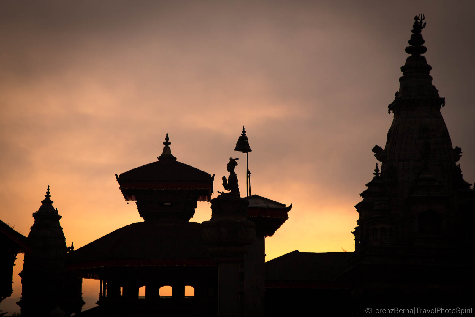 At Dawn, Silhouettes of the temple in Bhakthapur Durbarsquare, in Kathmandu Valley - Travel Photography of Nepal by Lorenz Berna.