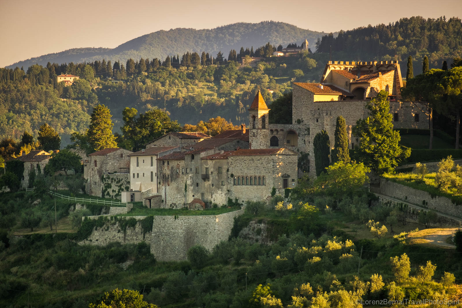 Morning lights over Nipozzano castle, Tuscany, Italy