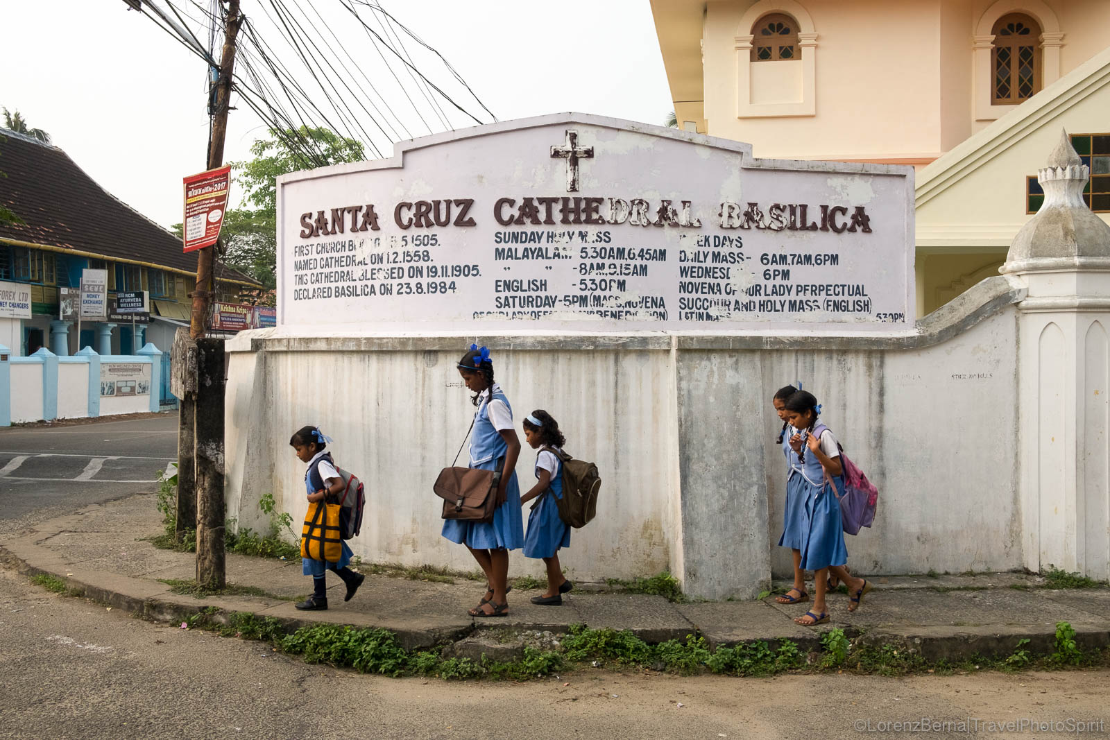 Group of children on their way to school in Fort Kochi, Kerala, India