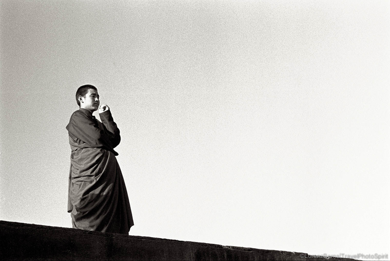 Buddhist Monk in Contemplation, Nepal.