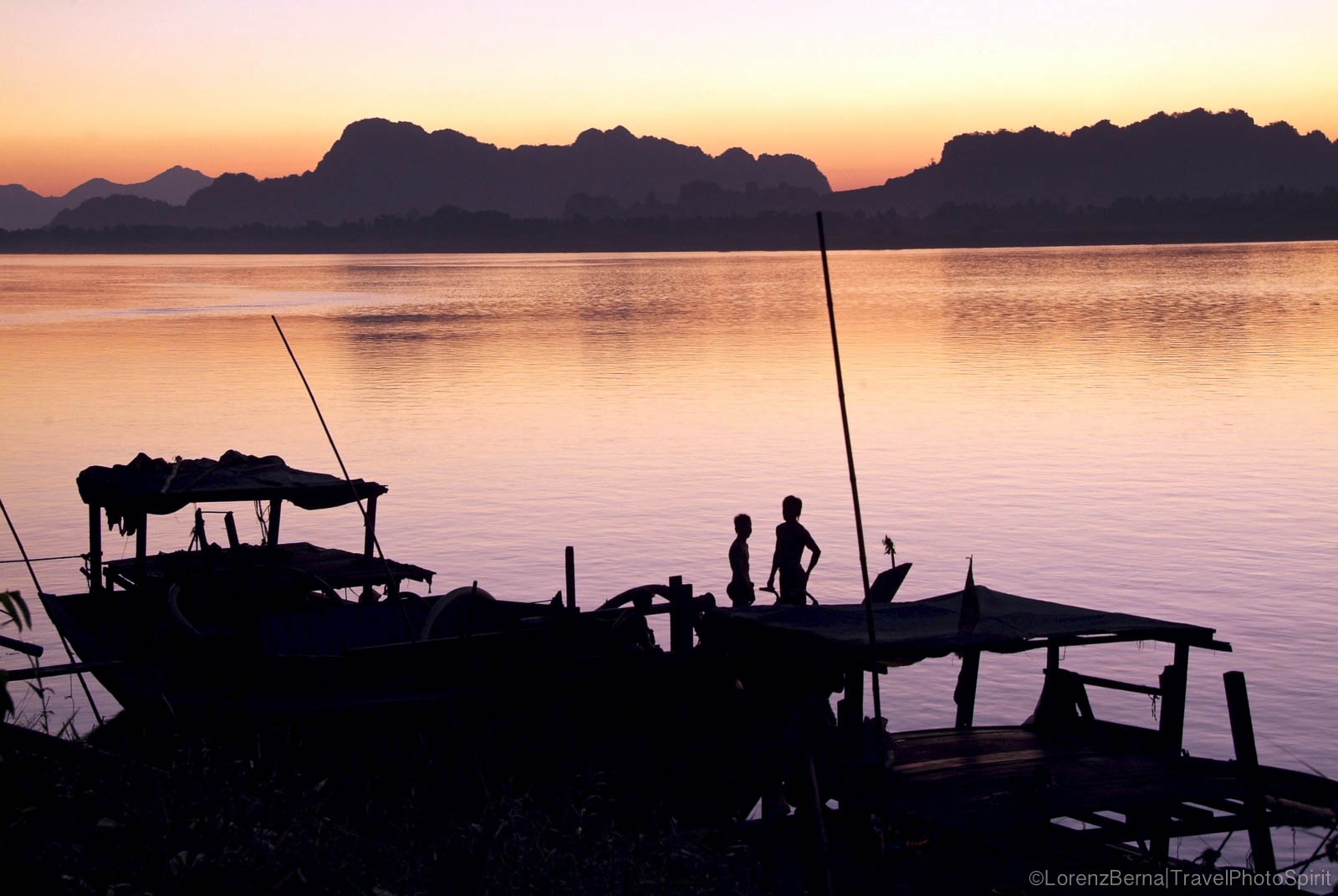 Sunset on the river of Hpa An, in the Karen state, Myanmar