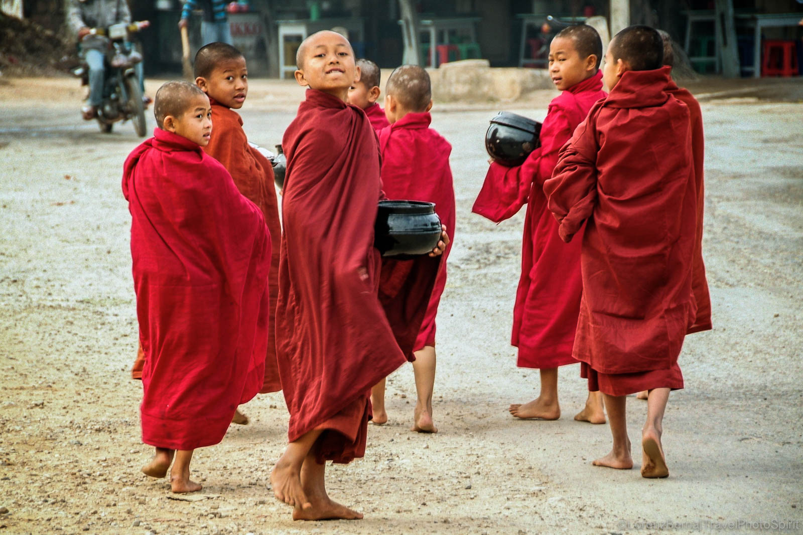 Young monks on an alms giving, in Myanmar