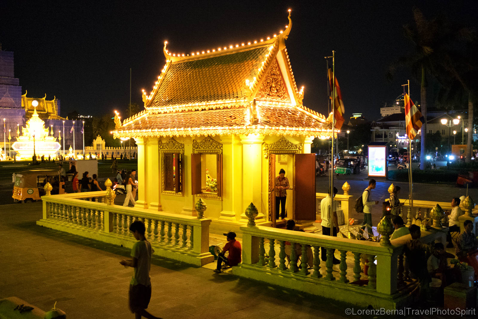 Riverside Temple in the evening lights, Phnom Penh, Cambodia