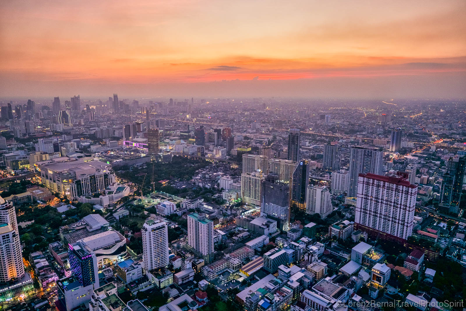 Bangkok Cityscape at sunset from the top of the Baiyoke Sky Tower - A Lorenz Berna Photography of Bangkok