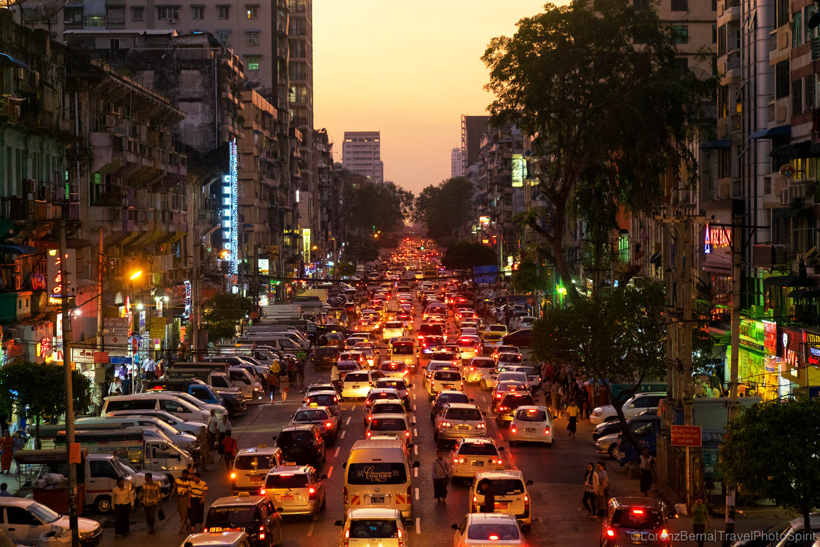 Traffic on the roads, a classic in Yangon streets, at all hours of the day.