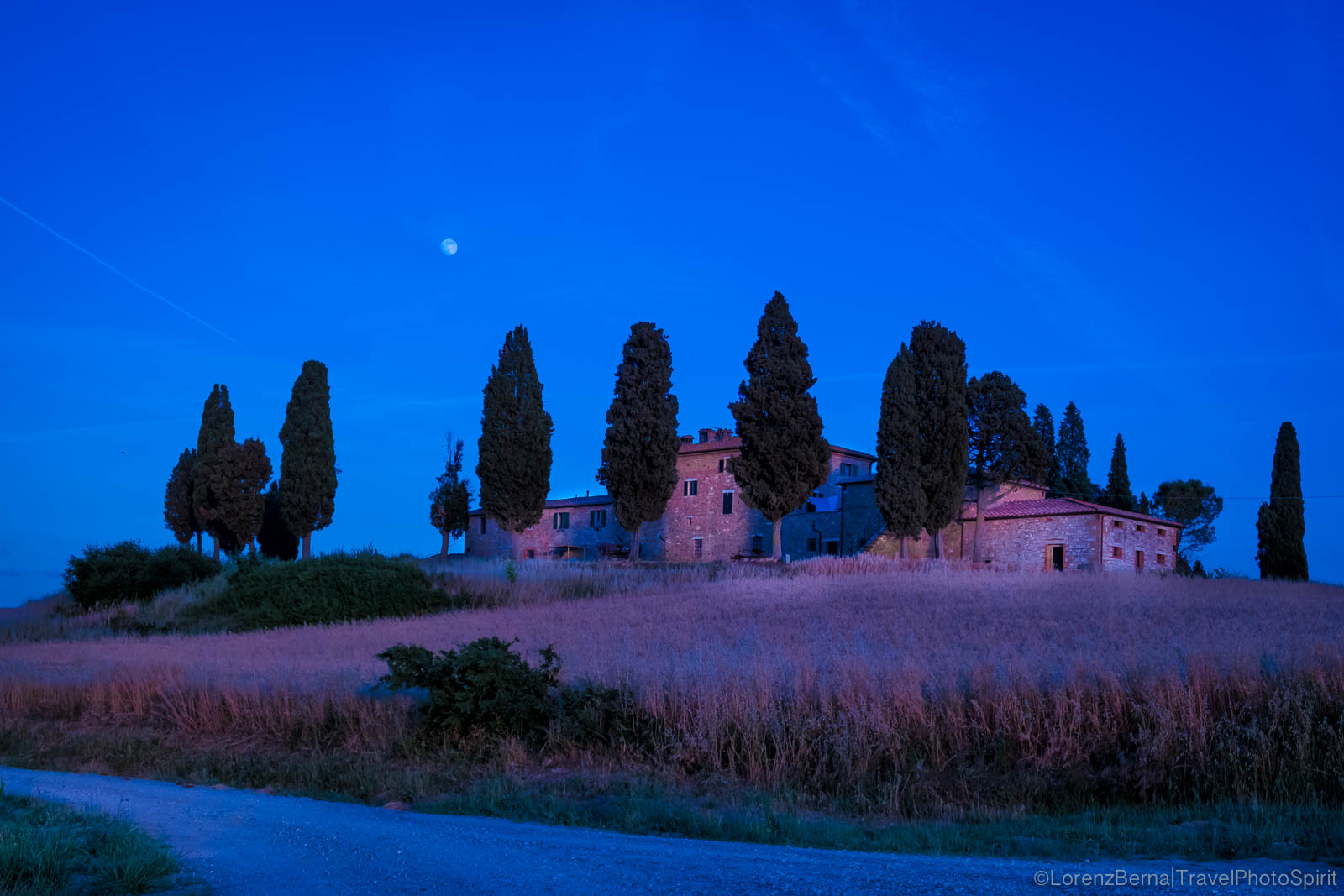 Tuscany medieval farmhouse in the night, Italy