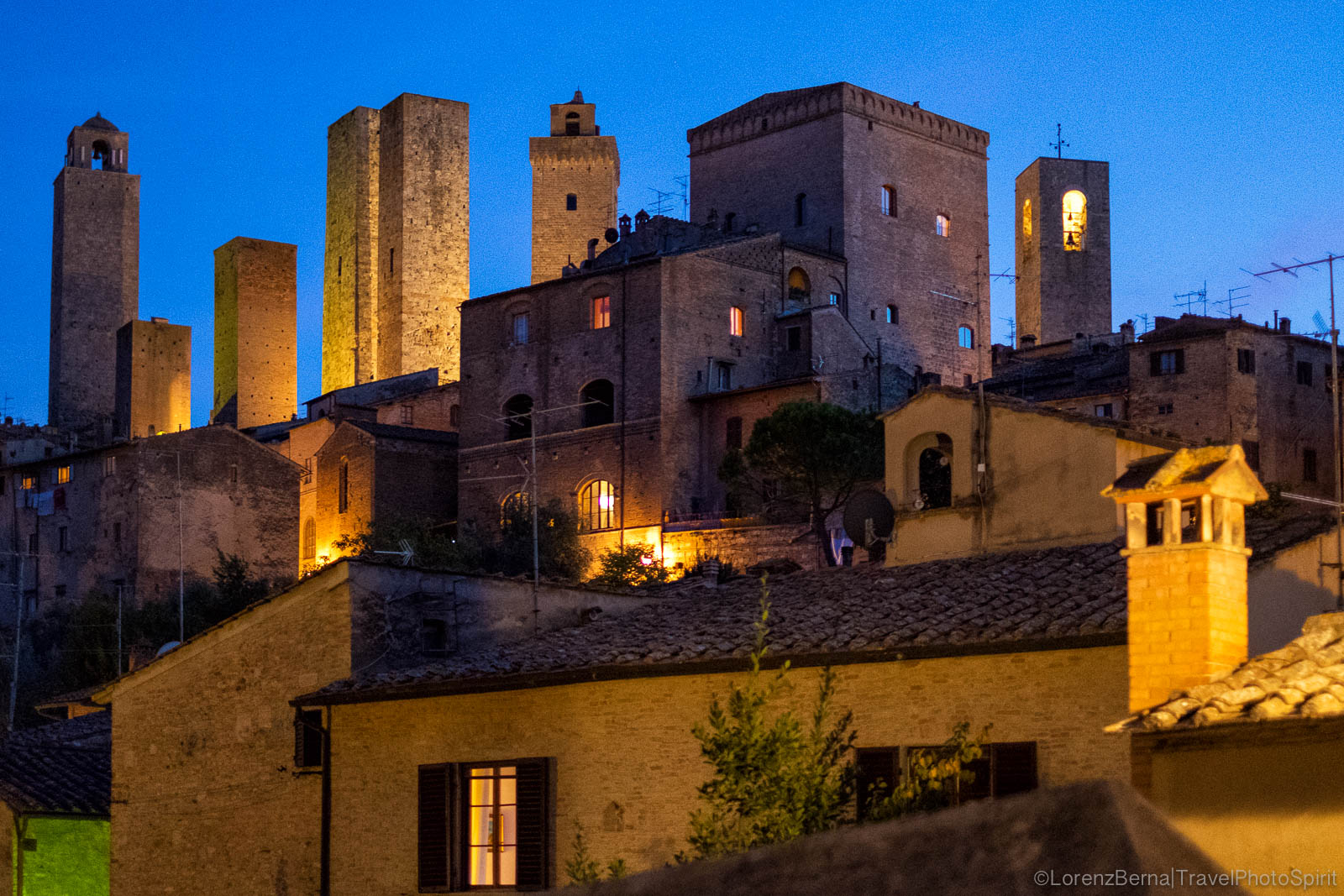 San Gimignano in the evening lights, Tuscany, Italy.