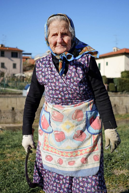 Old lady farmer in Tuscany, Italy
