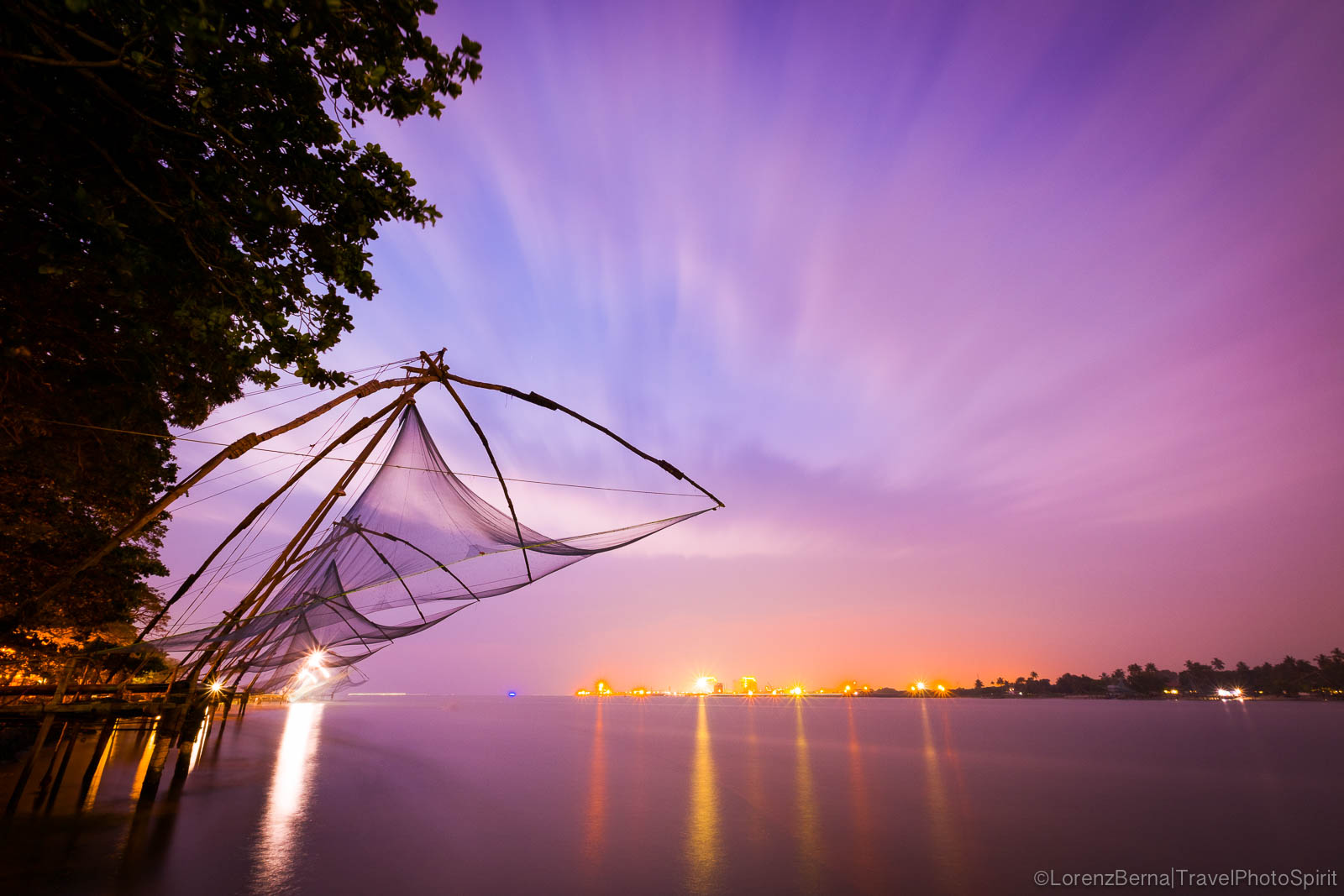 Chinese fishing nets in Kochi by the sunset - A Lorenz Berna Travel Photography of India