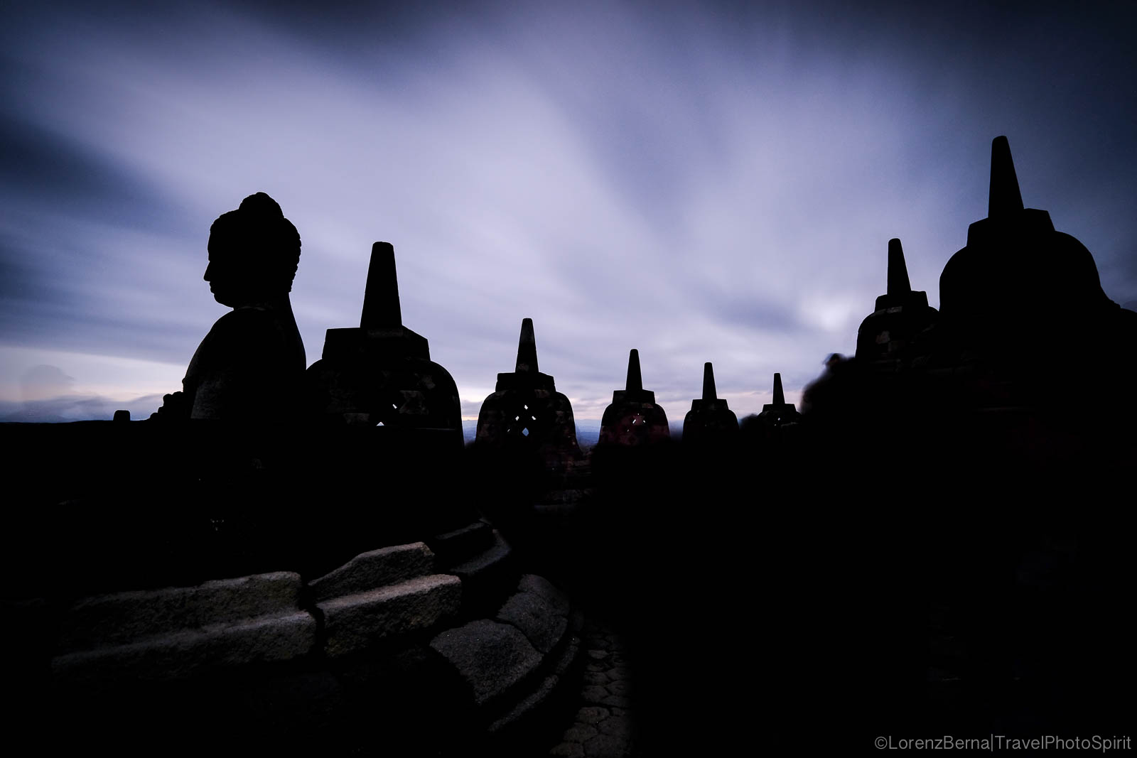 Silhouettes of the Borobodur Buddhist Temple in Java - Indonesia Travel Photography by Lorenz Berna