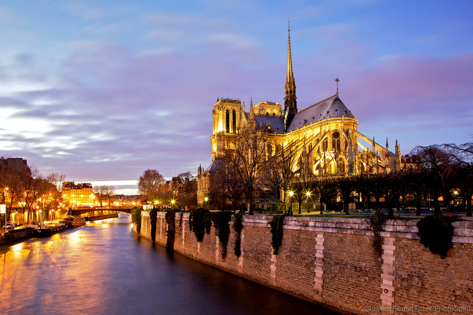 View from the canals on the iconic cathedral of Notre Dame, Paris