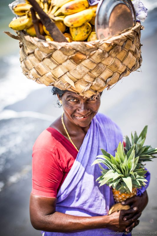Fruit seller in the streets of India.
