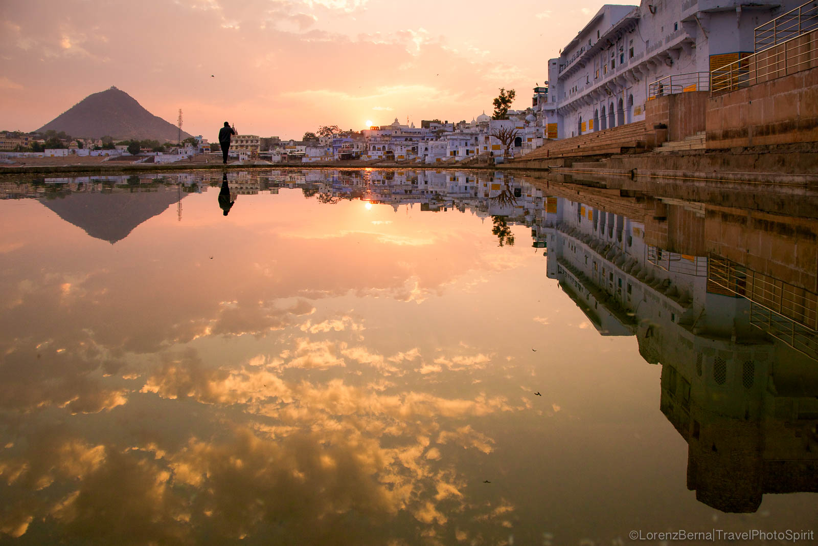 Serenity of a sunset on Pushkar Lake, India