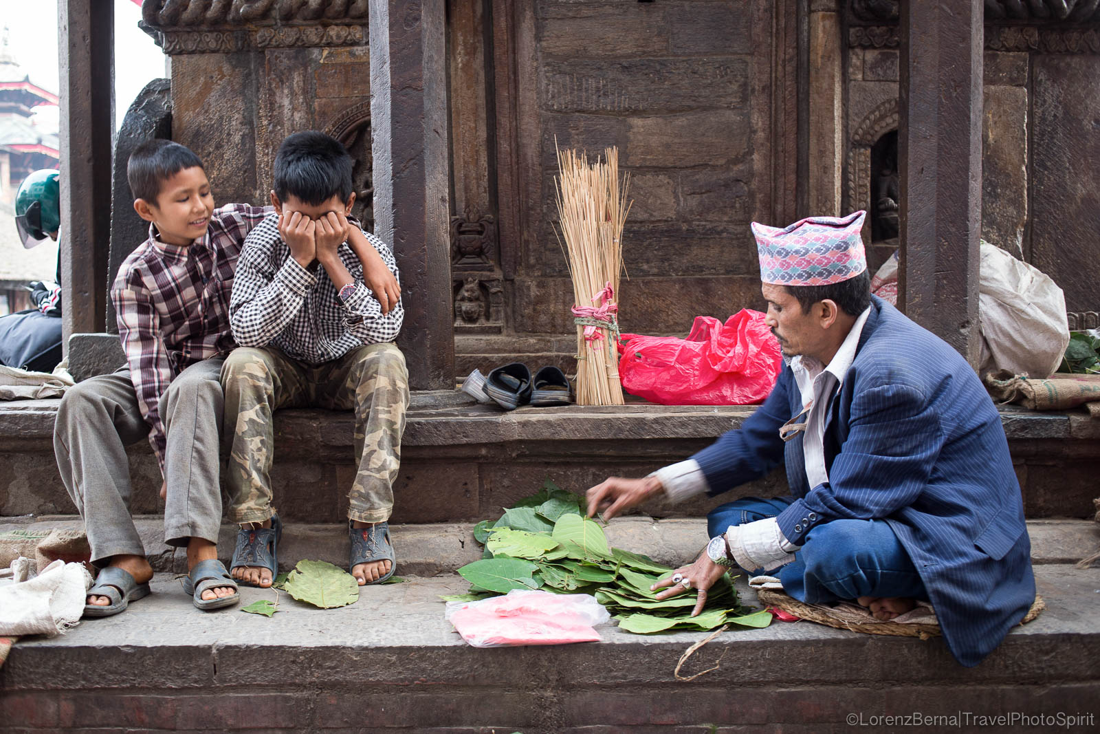 Markets on the temples stairs in Kathmandu Valley, Nepal