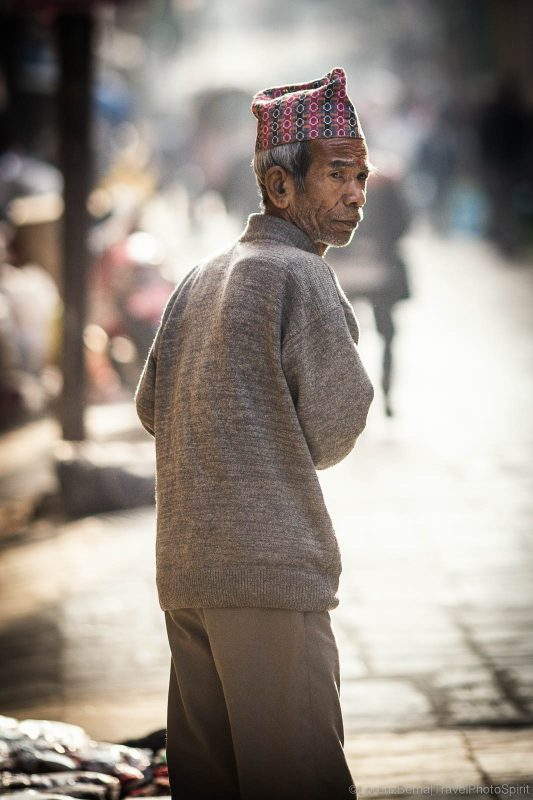 Morning backlights in the narrow streets of the old Kathmandu, Nepal