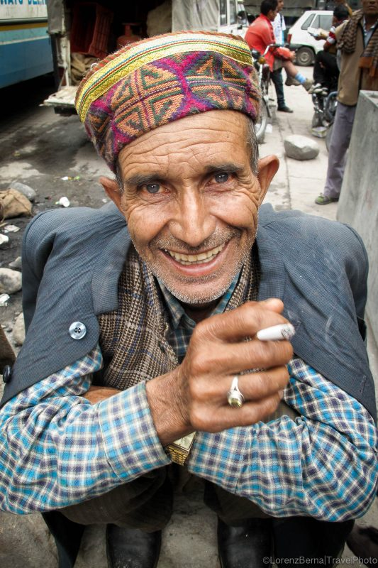 Smiling portrait of an old man in Manali, North India.