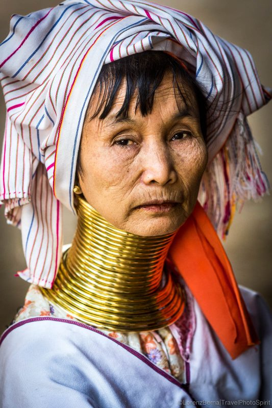 Portrait of a Padaung Woman, a Giraffe woman, in Myanmar.